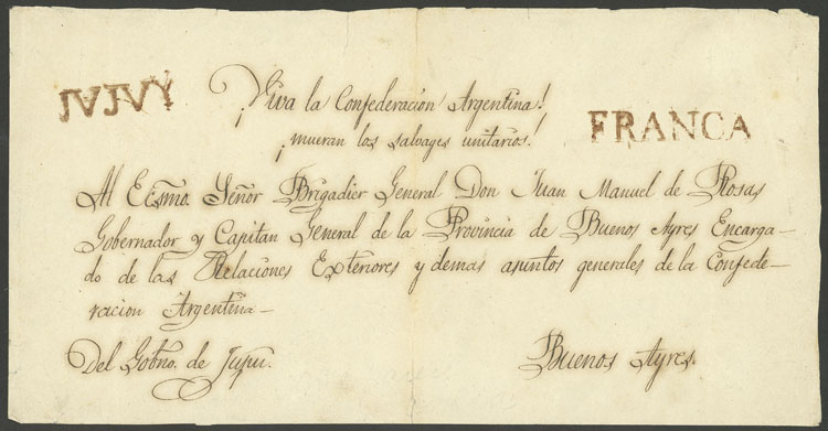 Lot 150 - Argentina pre-stamp mail -  Guillermo Jalil - Philatino Auction # 1909 ARGENTINA: small sale with very interesting lots!