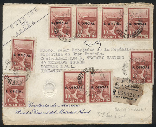 Lot 146 - Argentina official stamps - postal history -  Guillermo Jalil - Philatino