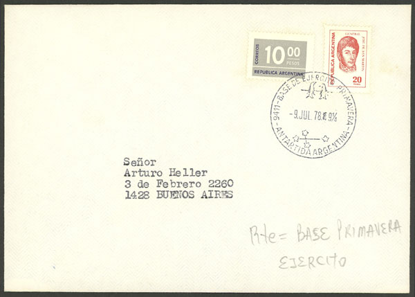 Lot 14 - argentine antarctica postal history -  Guillermo Jalil - Philatino Auction # 1910 ARGENTINA: