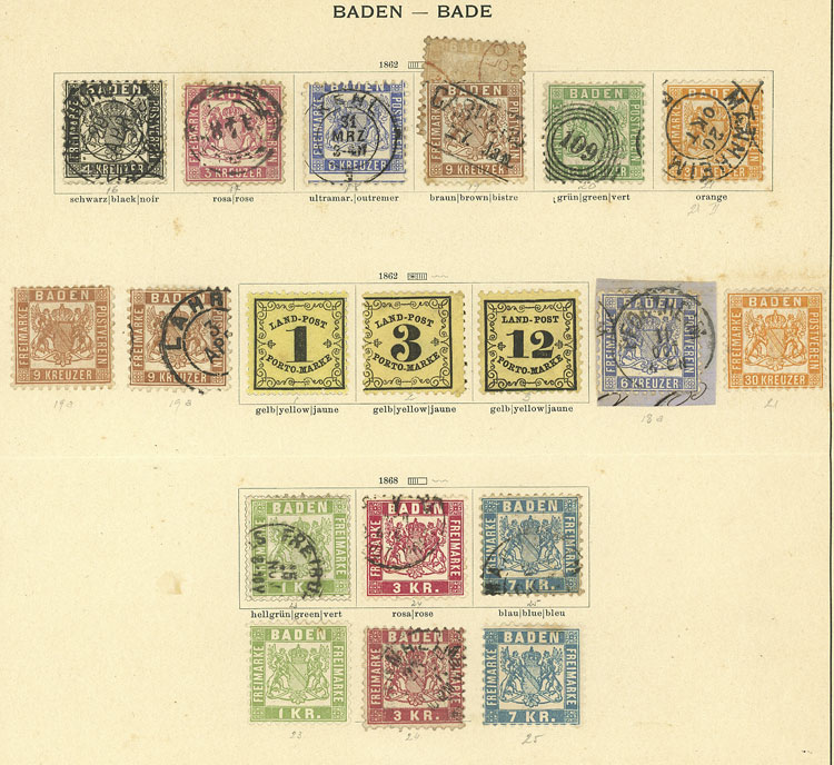Lot 7 - germany Baden -  Guillermo Jalil - Philatino Auction # 1911 WORLDWIDE + ARGENTINA: General March auction!