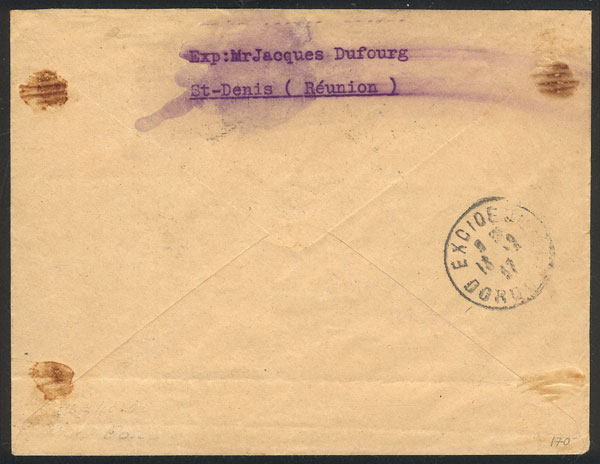 Lot 498 - FRANCE - REUNION postal history -  Guillermo Jalil - Philatino Auction # 1915 WORLDWIDE + ARGENTINA: Special April Auction