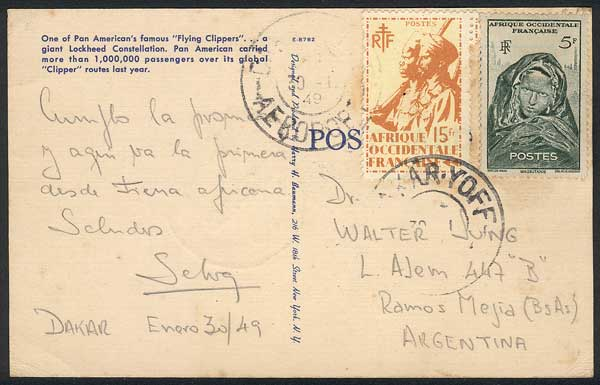 Lot 25 - french west africa postal history -  Guillermo Jalil - Philatino Auction # 1915 WORLDWIDE + ARGENTINA: Special April Auction