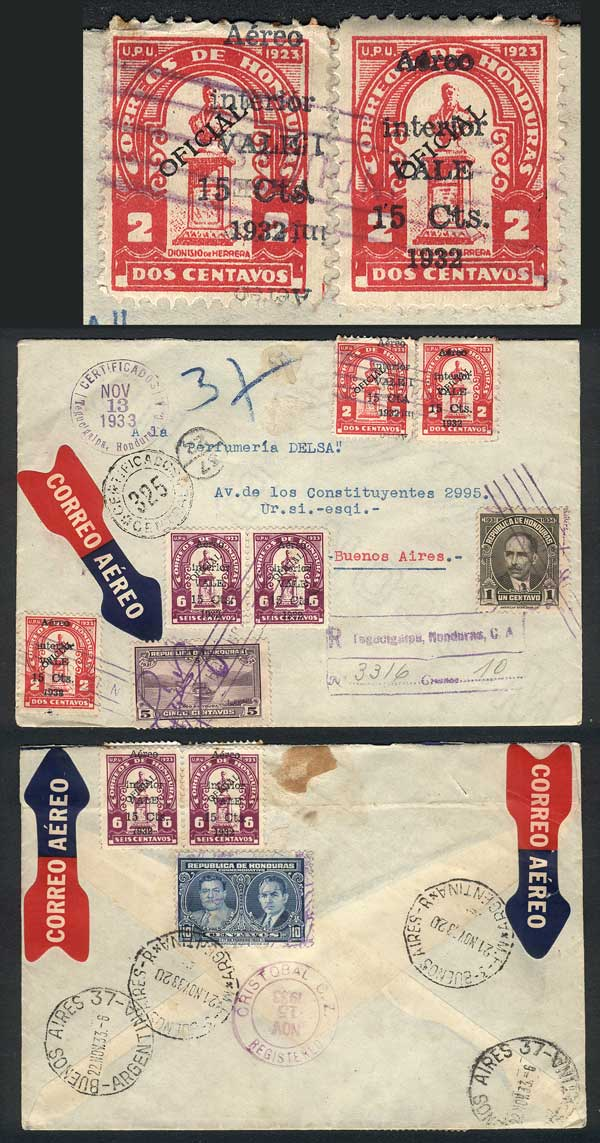 Lot 547 - Honduras postal history -  Guillermo Jalil - Philatino Auction # 1915 WORLDWIDE + ARGENTINA: Special April Auction