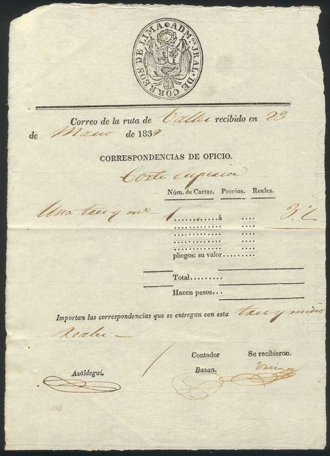 Lot 778 - Peru postal history -  Guillermo Jalil - Philatino Auction # 1915 WORLDWIDE + ARGENTINA: Special April Auction