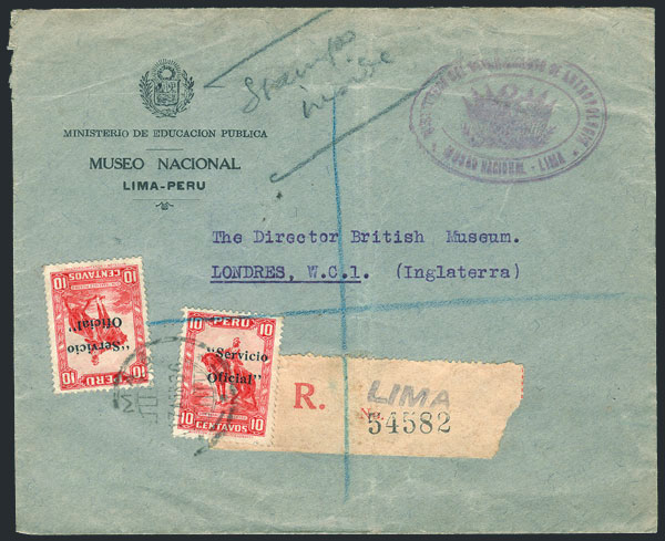 Lot 768 - Peru official stamps -  Guillermo Jalil - Philatino Auction # 1915 WORLDWIDE + ARGENTINA: Special April Auction