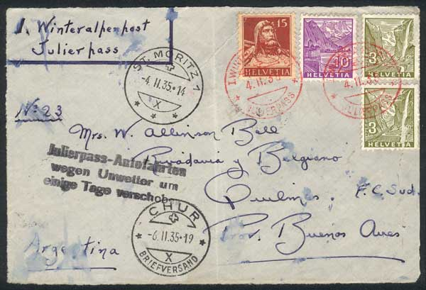 Lot 858 - Switzerland postal history -  Guillermo Jalil - Philatino Auction # 1915 WORLDWIDE + ARGENTINA: Special April Auction
