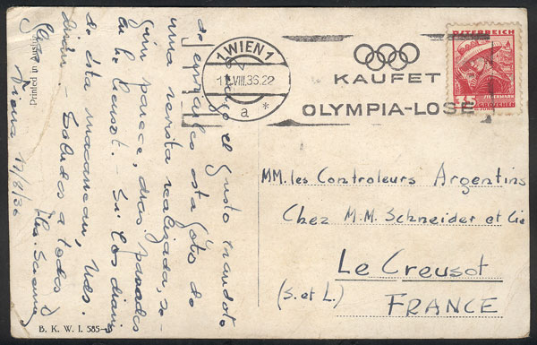 Lot 20 - Topic Olympic Games postal history -  Guillermo Jalil - Philatino Auction # 1915 WORLDWIDE + ARGENTINA: Special April Auction