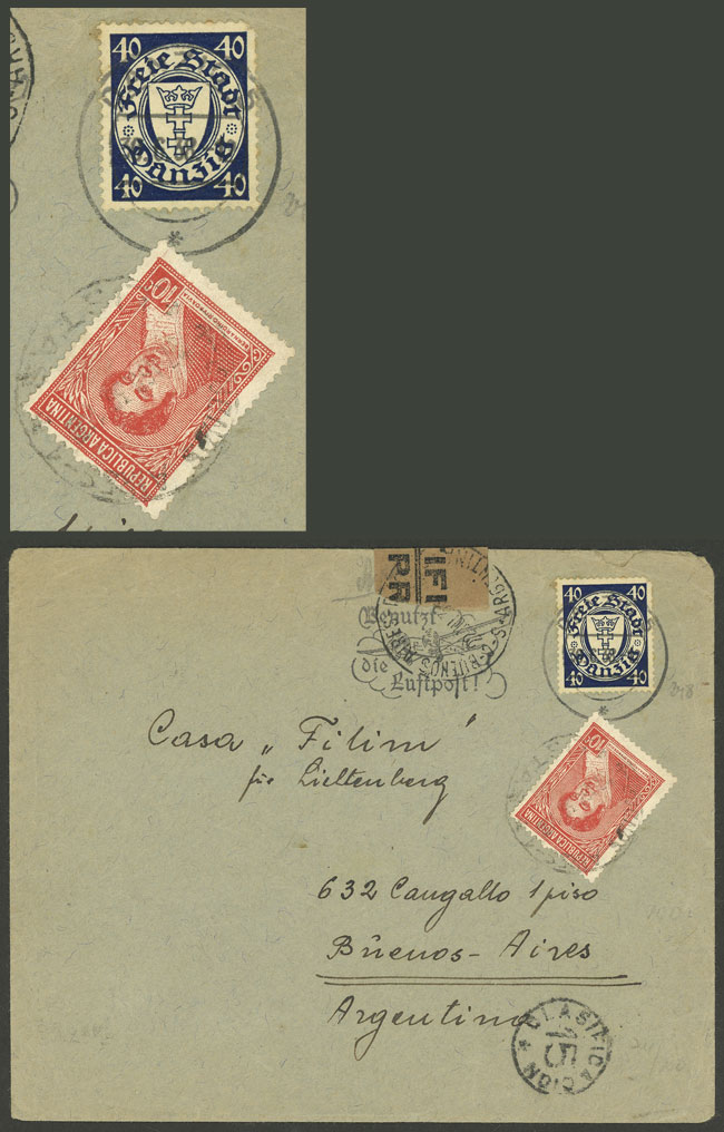 Lot 220 - germany - danzig postal history -  Guillermo Jalil - Philatino Auction #1920 WORLDWIDE + ARGENTINA: General May auction