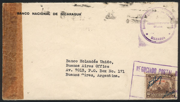 Lot 1286 - nicaragua postal history -  Guillermo Jalil - Philatino Auction #1920 WORLDWIDE + ARGENTINA: General May auction