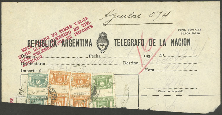 Lot 703 - Argentina telegraph stamps -  Guillermo Jalil - Philatino Auction #1922 ARGENTINA: General auction with very low starts!