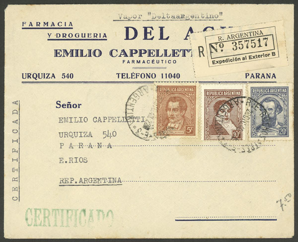 Lot 764 - Argentina postal history -  Guillermo Jalil - Philatino Auction #1922 ARGENTINA: General auction with very low starts!