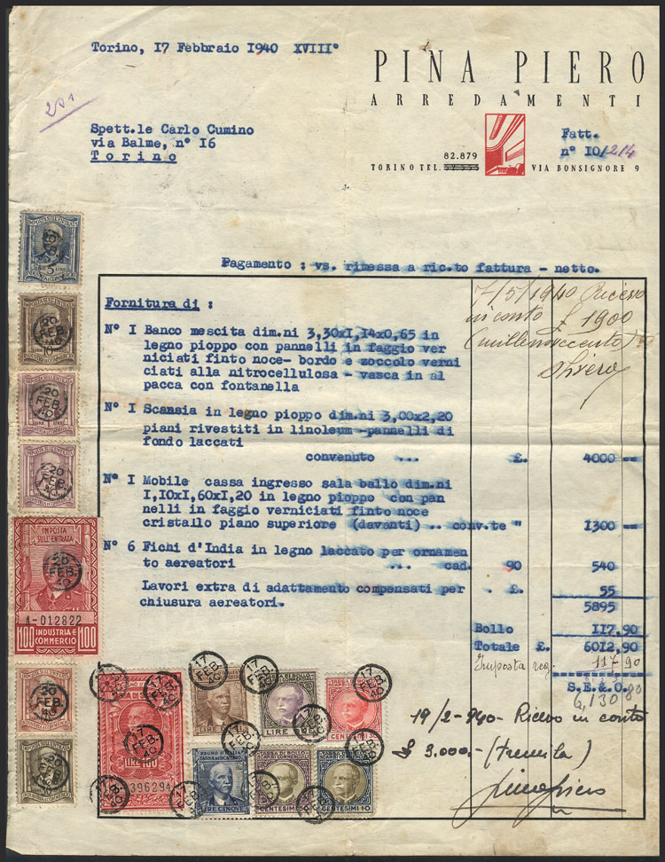 Lot 894 - Italy revenue stamps -  Guillermo Jalil - Philatino Auction #1924 WORLDWIDE + ARGENTINA: General June auction