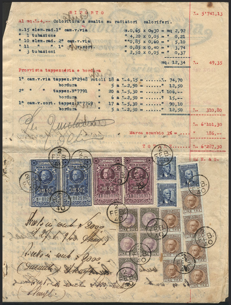 Lot 895 - Italy revenue stamps -  Guillermo Jalil - Philatino Auction #1924 WORLDWIDE + ARGENTINA: General June auction