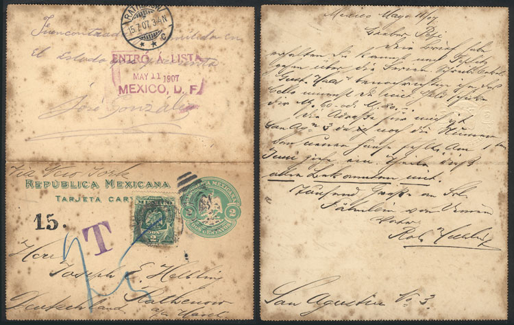 Lot 961 - Mexico postal history -  Guillermo Jalil - Philatino Auction #1924 WORLDWIDE + ARGENTINA: General June auction