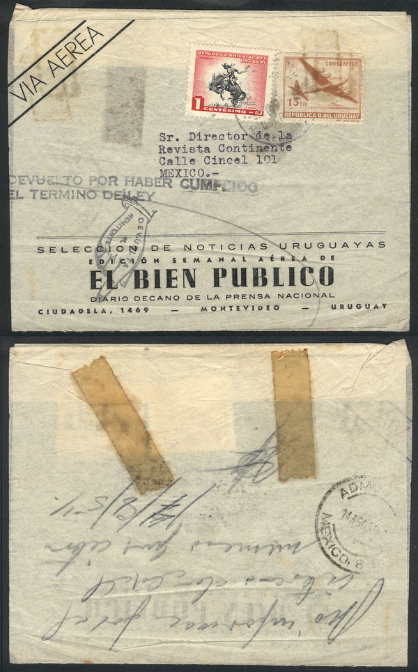 Lot 963 - Mexico postal history -  Guillermo Jalil - Philatino Auction #1924 WORLDWIDE + ARGENTINA: General June auction