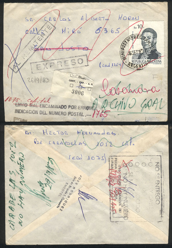 Lot 462 - Argentina postal history -  Guillermo Jalil - Philatino Auction #1924 WORLDWIDE + ARGENTINA: General June auction
