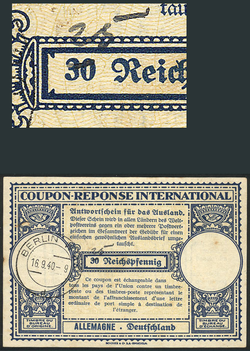 Lot 15 - germany international reply coupons -  Guillermo Jalil - Philatino Auction #1928 WORLDWIDE + ARGENTINA: General Winter auction