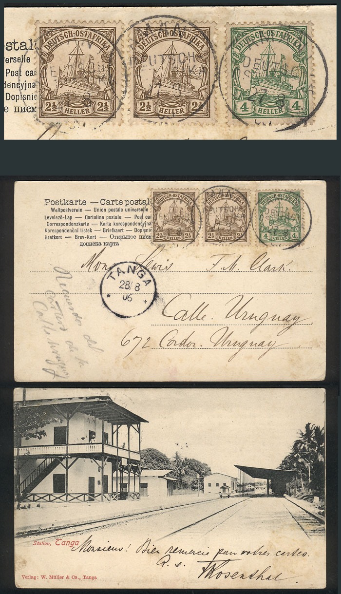 Lot 5 - german east africa postal history -  Guillermo Jalil - Philatino Auction #1928 WORLDWIDE + ARGENTINA: General Winter auction