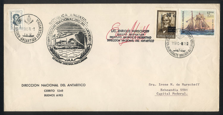 Lot 12 - argentine antarctica postal history -  Guillermo Jalil - Philatino Auction #1931  ARGENTINA: Auction with interesting lots at budget prices!