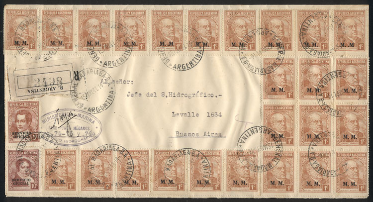 Lot 117 - Argentina official stamps - postal history -  Guillermo Jalil - Philatino Auction #1939 ARGENTINA - OFFICIAL STAMPS - 116 RARE LOTS 116