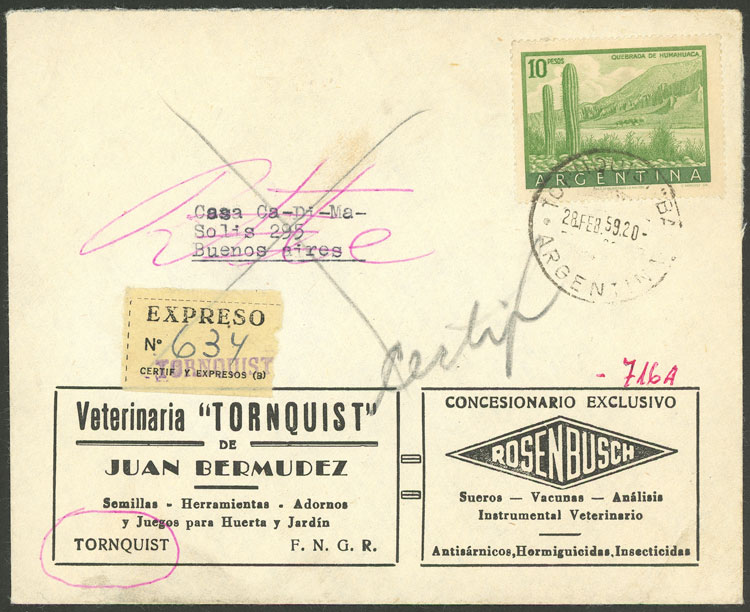 Lot 847 - Argentina postal history -  Guillermo Jalil - Philatino Auction #1945 ARGENTINA: