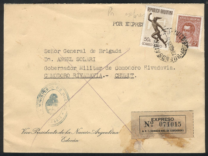 Lot 834 - Argentina postal history -  Guillermo Jalil - Philatino Auction #1945 ARGENTINA: