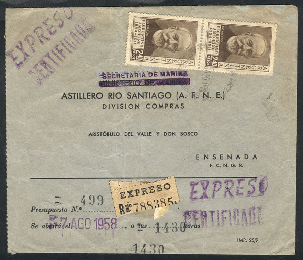 Lot 846 - Argentina postal history -  Guillermo Jalil - Philatino Auction #1945 ARGENTINA: