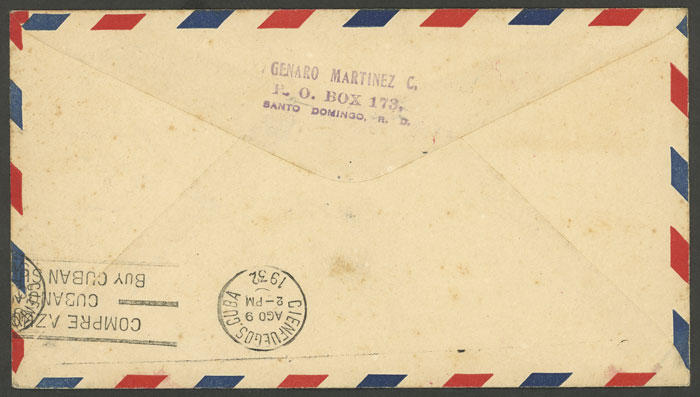 Lot 348 - dominican republic postal history -  Guillermo Jalil - Philatino Auction #1946 WORLDWIDE POSTAL HISTORY, COVERS AND CARDS