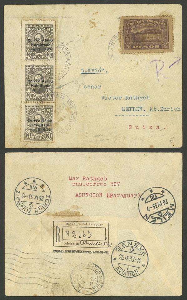 Lot 538 - Paraguay postal history -  Guillermo Jalil - Philatino Auction #1946 WORLDWIDE POSTAL HISTORY, COVERS AND CARDS