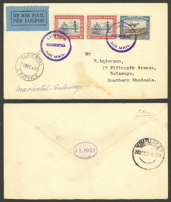 Lot 3 - south west africa postal history -  Guillermo Jalil - Philatino Auction #1946 WORLDWIDE POSTAL HISTORY, COVERS AND CARDS
