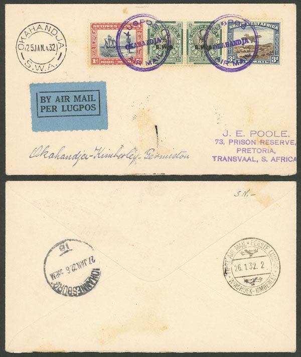 Lot 4 - south west africa postal history -  Guillermo Jalil - Philatino Auction #1946 WORLDWIDE POSTAL HISTORY, COVERS AND CARDS
