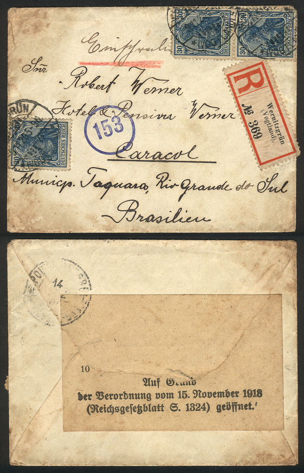 Lot 10 - germany postal history -  Guillermo Jalil - Philatino Auction #1946 WORLDWIDE POSTAL HISTORY, COVERS AND CARDS