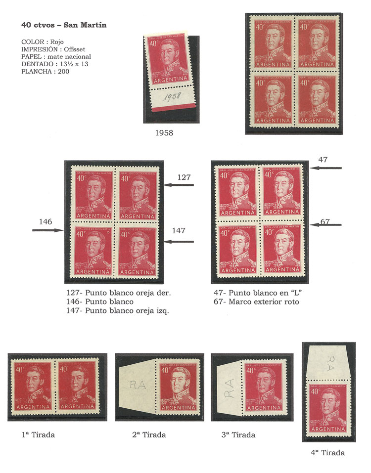 Lot 30 - Argentina general issues -  Guillermo Jalil - Philatino Auction #1948 ARGENTINA - DEFINITIVE STAMPS - PRÓCERES & RIQUEZAS