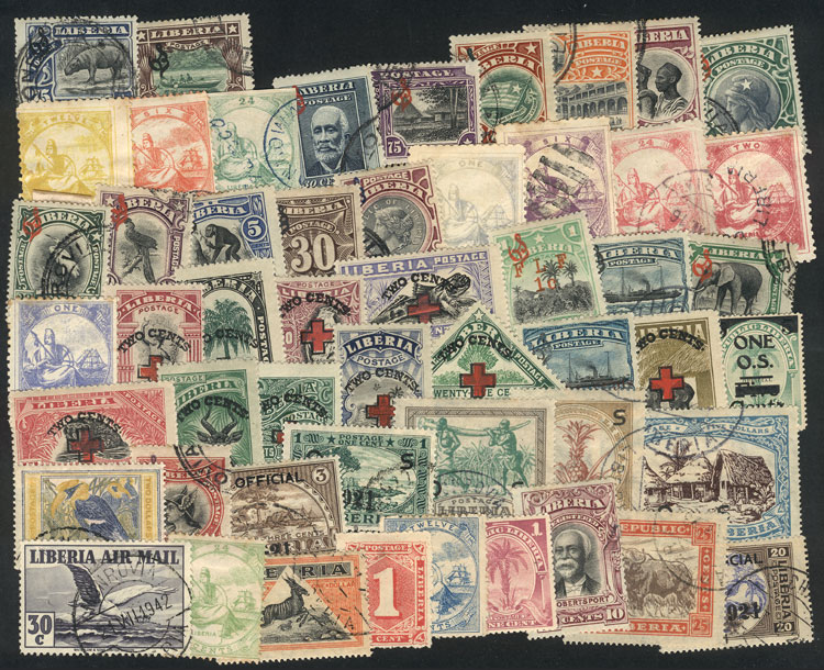 Lot 1702 - Liberia Lots and Collections -  Guillermo Jalil - Philatino Auction #1949  WORLDWIDE + ARGENTINA: End-of-year general auction