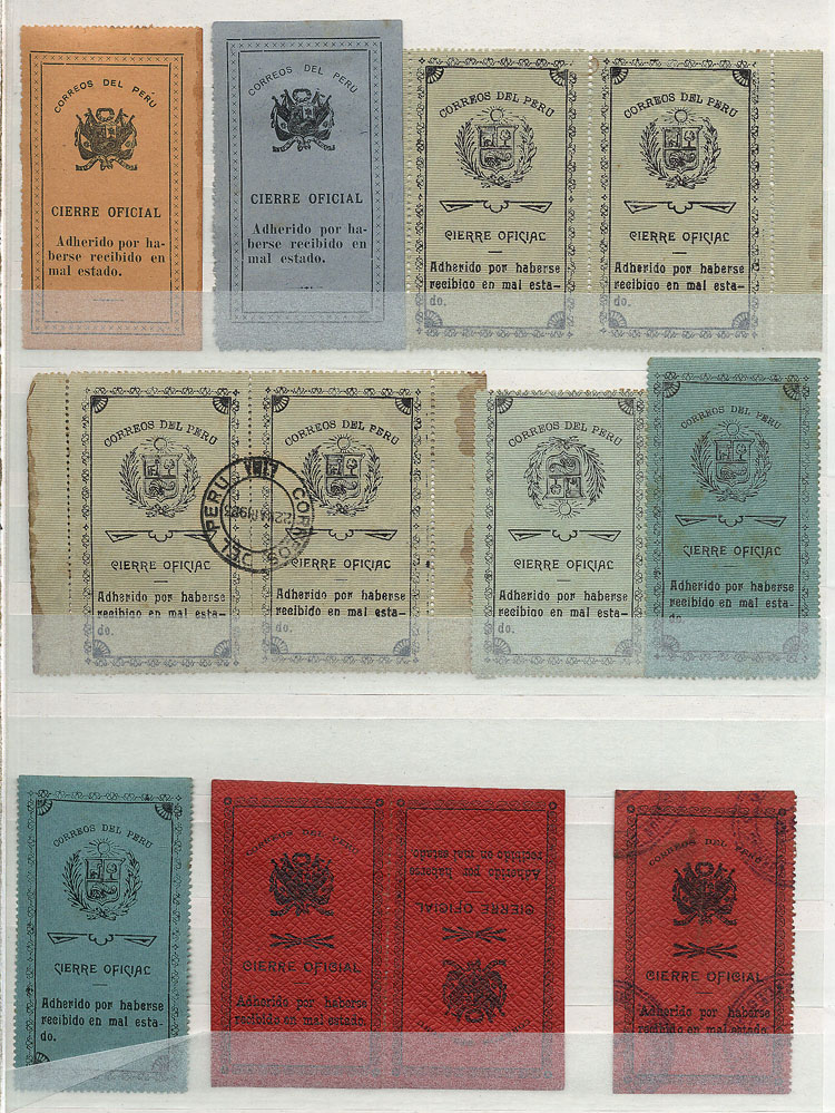 Lot 1822 - Peru official seals -  Guillermo Jalil - Philatino Auction #1949  WORLDWIDE + ARGENTINA: End-of-year general auction