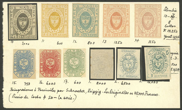 Lot 1346 - Colombia Lots and Collections -  Guillermo Jalil - Philatino Auction #1949  WORLDWIDE + ARGENTINA: End-of-year general auction