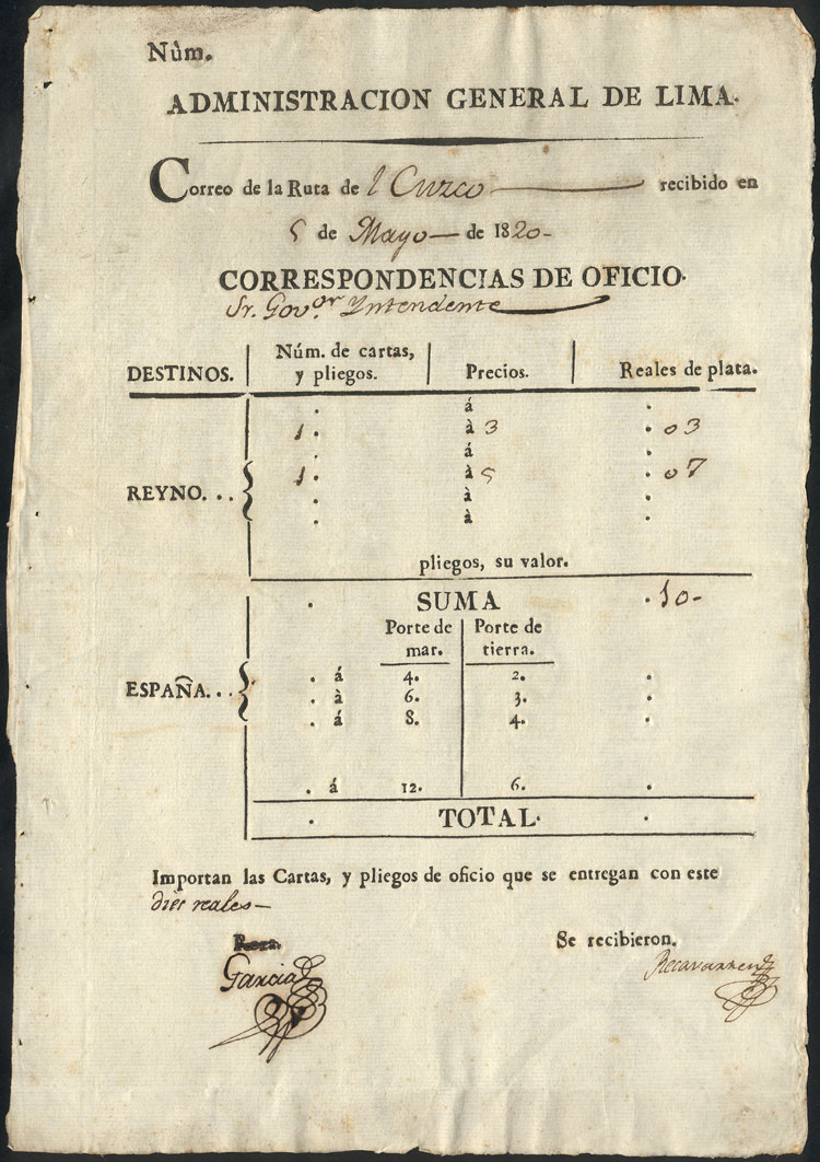 Lot 1827 - Peru postal history -  Guillermo Jalil - Philatino Auction #1949  WORLDWIDE + ARGENTINA: End-of-year general auction