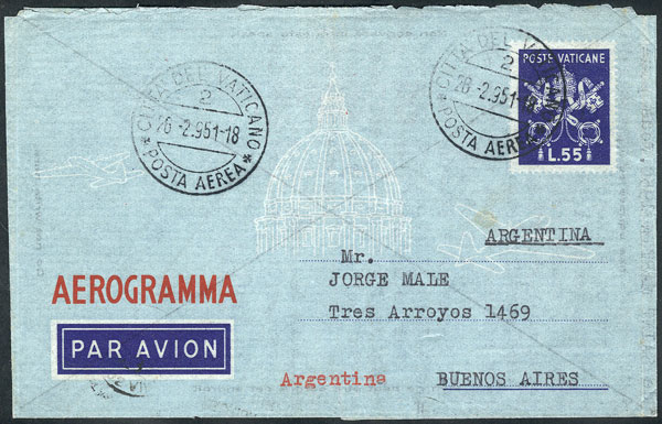 Lot 2108 - vatican postal history -  Guillermo Jalil - Philatino Auction #1949  WORLDWIDE + ARGENTINA: End-of-year general auction
