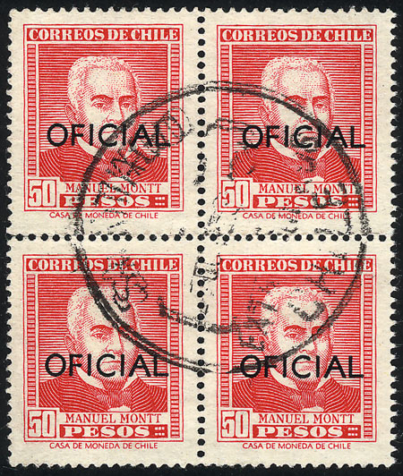 Lot 1299 - Chile official stamps -  Guillermo Jalil - Philatino Auction #1949  WORLDWIDE + ARGENTINA: End-of-year general auction