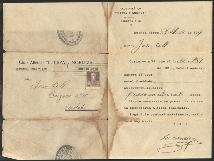 Lot 21 - topic football postal history -  Guillermo Jalil - Philatino Auction # 2006 WORLDWIDE + ARGENTINA: Selection of covers of all periods, cards, postal stationeries and more!