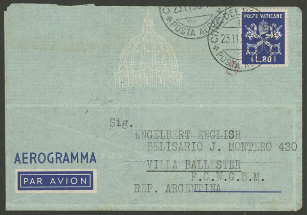 Lot 832 - vatican postal history -  Guillermo Jalil - Philatino Auction # 2006 WORLDWIDE + ARGENTINA: Selection of covers of all periods, cards, postal stationeries and more!
