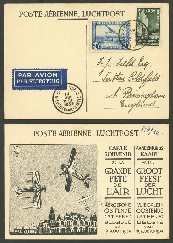 Lot 269 - Belgium postal history -  Guillermo Jalil - Philatino Auction # 2006 WORLDWIDE + ARGENTINA: Selection of covers of all periods, cards, postal stationeries and more!