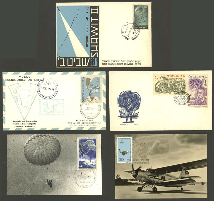 Lot 23 - TOPIC PARACHUTING Lots and Collections -  Guillermo Jalil - Philatino Auction # 2006 WORLDWIDE + ARGENTINA: Selection of covers of all periods, cards, postal stationeries and more!