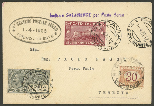 Lot 580 - Italy postal history -  Guillermo Jalil - Philatino Auction # 2006 WORLDWIDE + ARGENTINA: Selection of covers of all periods, cards, postal stationeries and more!