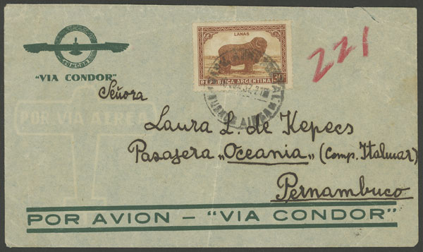 Lot 182 - Argentina postal history -  Guillermo Jalil - Philatino Auction # 2006 WORLDWIDE + ARGENTINA: Selection of covers of all periods, cards, postal stationeries and more!