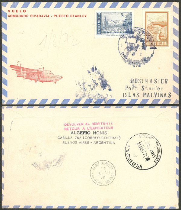 Lot 664 - falkland islands/malvinas postal history -  Guillermo Jalil - Philatino Auction # 2006 WORLDWIDE + ARGENTINA: Selection of covers of all periods, cards, postal stationeries and more!