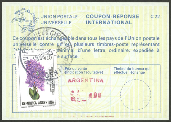 Lot 127 - Argentina international reply coupons -  Guillermo Jalil - Philatino Auction # 2006 WORLDWIDE + ARGENTINA: Selection of covers of all periods, cards, postal stationeries and more!