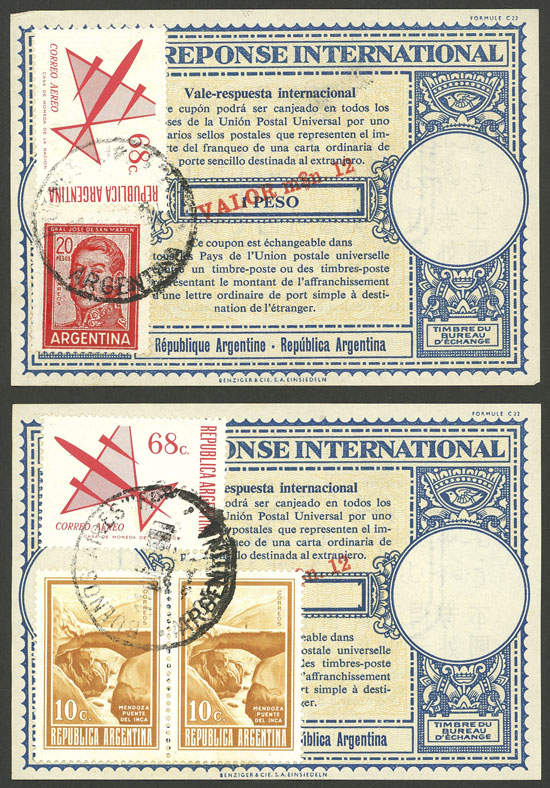 Lot 126 - Argentina international reply coupons -  Guillermo Jalil - Philatino Auction # 2006 WORLDWIDE + ARGENTINA: Selection of covers of all periods, cards, postal stationeries and more!