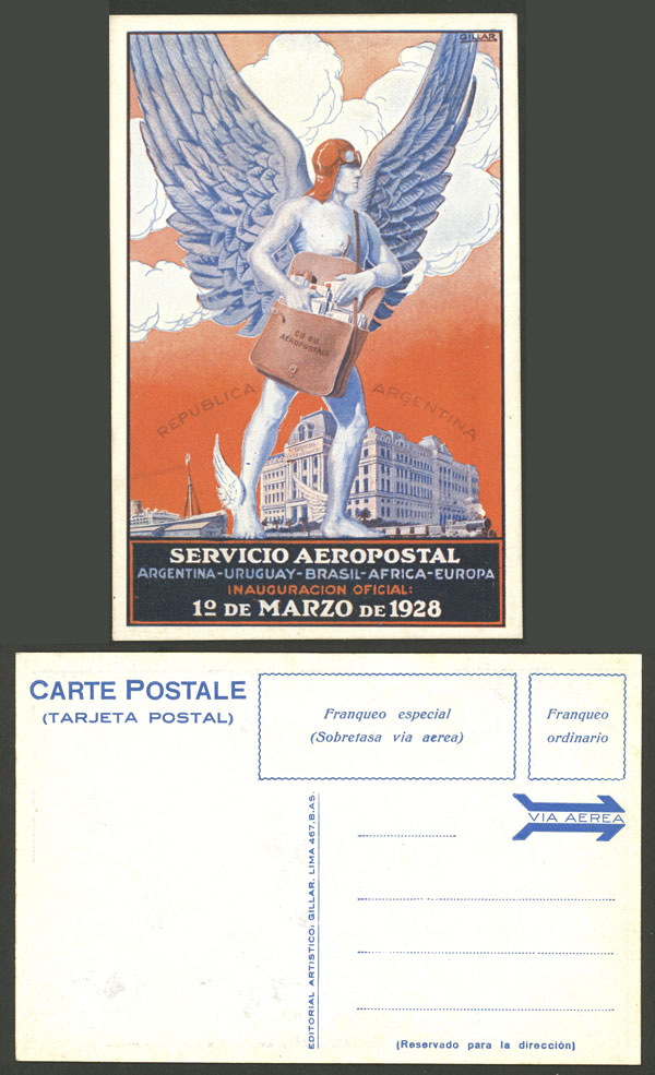 Lot 224 - Argentina postcards -  Guillermo Jalil - Philatino Auction # 2006 WORLDWIDE + ARGENTINA: Selection of covers of all periods, cards, postal stationeries and more!
