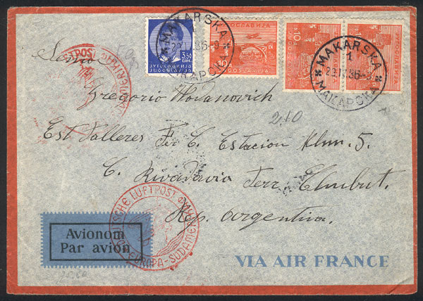 Lot 844 - Yugoslavia postal history -  Guillermo Jalil - Philatino Auction # 2006 WORLDWIDE + ARGENTINA: Selection of covers of all periods, cards, postal stationeries and more!